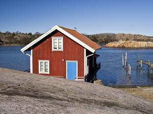 Sweden, Bohus, West Coast, Kattegat, Fishing Hut in Fjallbacke, Jetty by K. Schlierbach