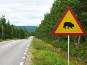 Sweden, Street Sign 'Game Pass by Bears' in Lofsdalen by K. Schlierbach