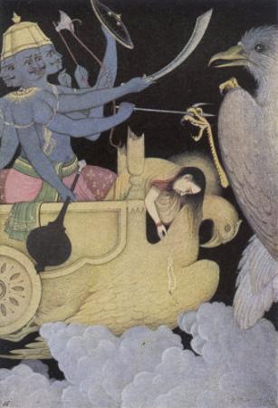 Jatayus King of the Vultures Tries to Rescue Sita from the Demon Ravana by K. Venkatappa