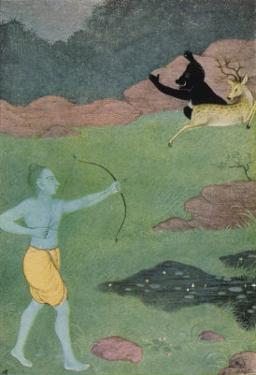 Rama the 7th Avatar of Vishnu Slays Maricha Who Has Assumed the Form of a Deer by K. Venkatappa
