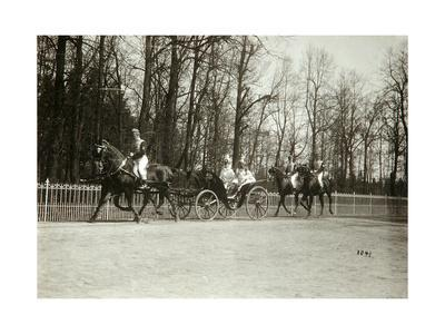 Tsar Nicholas II and Tsarina Alexandra Fyodorovna of Russia in a Carriage, Early 20th Century