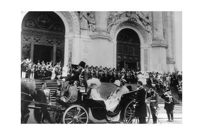 Tsar Nicholas II Leaving the Cathedral of Christ the Saviour, Moscow, Russia, 1912