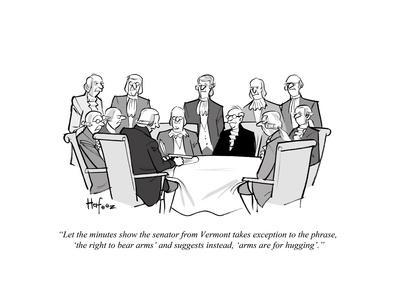 """""""Let the minutes show the senator from Vermont takes exception to the phra?"""" - Cartoon"""