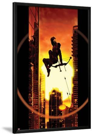 Ultimate Comics Hawkeye No.4 Cover: Hawkeye Jumping and Shooting with his Bow and Arrow