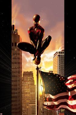 Ultimate Comics Spider-Man No.7 Cover: Spider-Man Sitting on Top of a Flag Pole in the City by Kaare Andrews