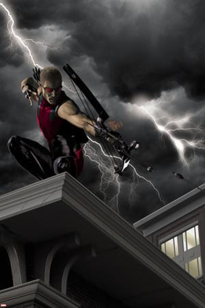 Ultimate Hawkeye No.2 Cover: Hawkeye Crouching and Shooting a Bow and Arrow