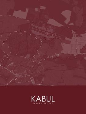 Kabul, Afghanistan Red Map