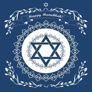 Jewish Hanukkah Holiday Background with Magen David Star - Vector Illustration by kaetana