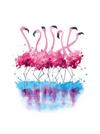Flamingos Watercolor Painting by Kamenuka