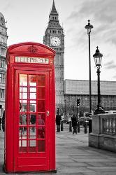 A Traditional Red Phone Booth In London With The Ben Black And White