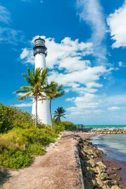 Famous Lighthouse at Cape Florida in the South End of Key Biscayne , Miami by Kamira