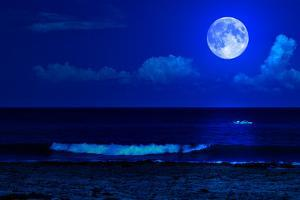 Midnight Sea Landscape with a Full Moon and Waves Breaking on the Beach by Kamira