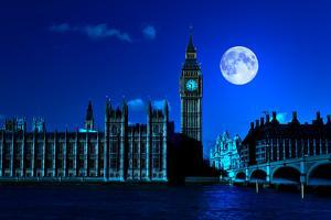 Night Scene in London Showing the Big Ben, a Full Moon and Westminster Bridge by Kamira
