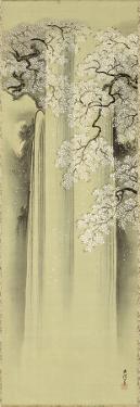 Waterfall and Cherry by Kano Eisen'in Michinobu