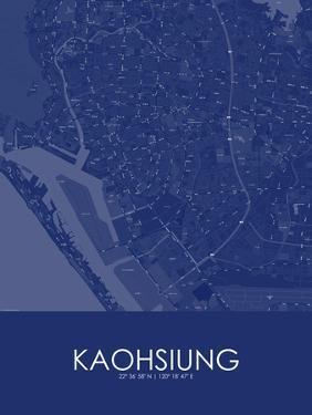 Kaohsiung, Taiwan, Republic of China Blue Map