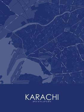 Karachi, Pakistan Blue Map