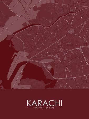 Karachi, Pakistan Red Map
