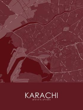 Karachi, Pakistan Red Map