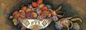 Artichokes and Pomegranates in a Moroccan Bowl by Karel Burrows