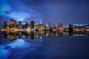 Brooklyn Bridge and Manhattan Skyline at Dusk, New York City, New York by Karen Deakin