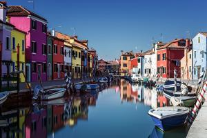 Colored Houses on the Island of Burano, Venice, UNESCO World Heritage Site, Veneto, Italy, Europe by Karen Deakin