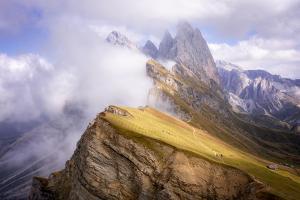 Dramatic Seceda mountain, Dolomites, Italy by Karen Deakin