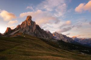 Passo Giau at sunset, Belluno, Dolomites, Italy by Karen Deakin