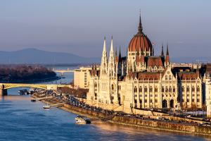 The Hungarian Parliament on the River Danube, Budapest, Hungary by Karen Deakin