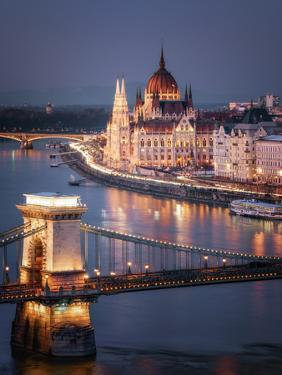 The Hungarian Parliament on the River Danube with the Chain Bridge, Budapest, Hungary by Karen Deakin