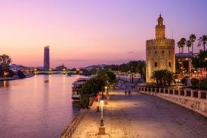 The Torre del Oro (Golden Tower) on the banks of the river Guadalquivir, Seville (Sevilla), Spain by Karen Deakin