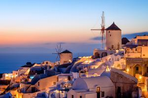 Windmill and Traditional Houses, Oia, Santorini (Thira), Cyclades Islands, Greek Islands by Karen Deakin