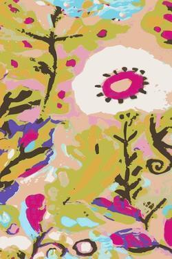 Pink Boho Floral II by Karen  Fields