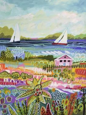 Two Sailboats and Cottage I by Karen Fields