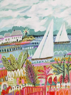 Two Sailboats and Cottage II by Karen  Fields