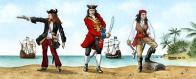 Anne Bonny, John 'Calico Jack' Rackam and Mary Read, 18th Century Pirates by Karen Humpage