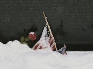 American Flags and a Rose Commemorate a Loved One at a War Memorial by Karen Kasmauski