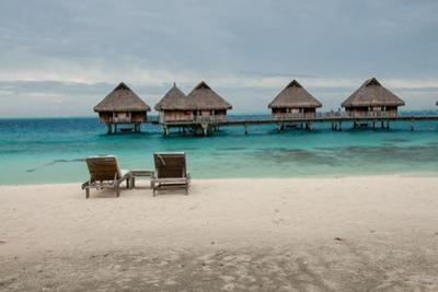 Lounge Chairs at a Beachfront Resort on Bora Bora, Tahiti