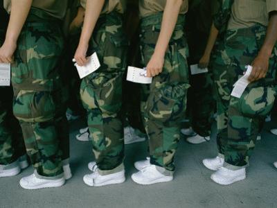 Marine Recruits Standing in Line