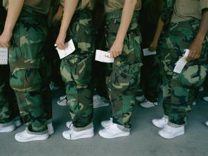 Marine Recruits Standing in Line by Karen Kasmauski