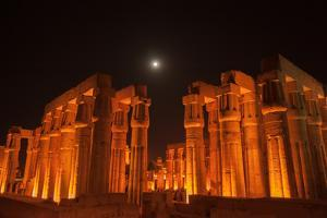 The Moon Above Luxor Temple, at Night by Karen Kasmauski