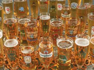 European Beer Glasses with Pretzels by Karen M. Romanko