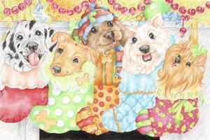 Christmas Stocking Pups by Karen Middleton