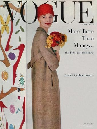 Vogue Cover - February 1956 - Flowers and Fashion