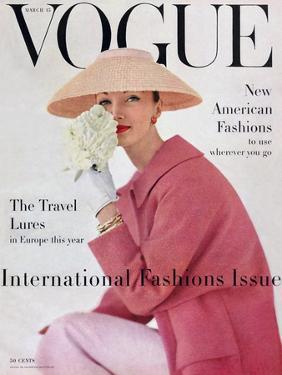 Vogue Cover - March 1956 - Pretty in Pink by Karen Radkai