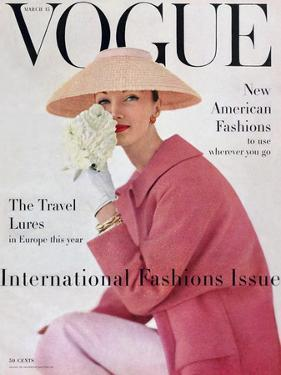 Vogue Cover - March 1956 - Pretty in Pink by Karen Radkai