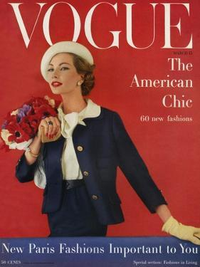 Vogue Cover - March 1957 by Karen Radkai