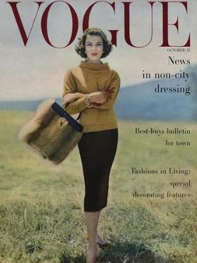 Vogue Cover - October 1956 - Fall into Fur by Karen Radkai