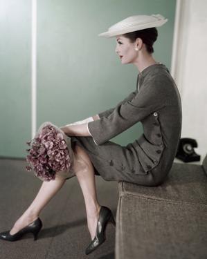 Vogue - February 1956 - Woman In Gray by Karen Radkai