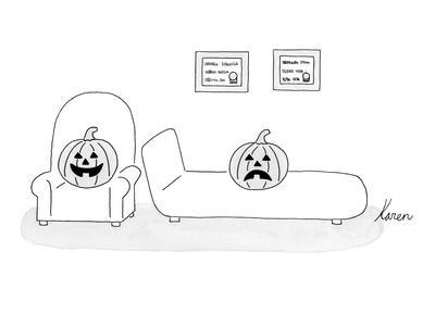 A carved pumpkin with a frowning face is the patient in a happy-faced pump? - New Yorker Cartoon
