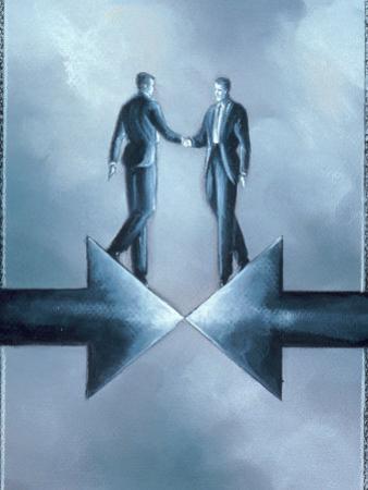 Executives Shaking Hands at Arrows